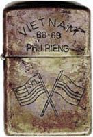 Zippo: (Front) VIET NAM 68-69, PHU RIENG, [Crossed Flags: USA/SVN], 1968-1969