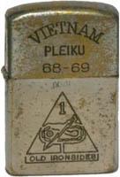 Zippo: (Front) VIETNAM 68-69, PLEIKU, Old Ironsides , 1968-1969