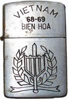 Zippo: (Front) VIETNAM, BIEN HOA 1968-1969