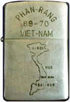 Zippo: (Front) PHAN-RANG 698-70, VIET-NAM [Map of N/S VIETNAM] 1969-1970
