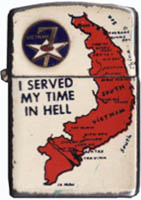 Zippo: (Front) [CREST], 7th Air Force, [Map of SVN], I served my time in Hell