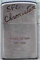 Zippo: (Back) SFC Chronister, PLEIKU, VIETNAM, 1967-1968