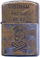 Zippo: (Front) Jeroen Geel, Phu Bai SVN, USMC 1966-1967. Hat with Skull and Cross-bones.