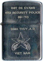 Zippo: (Front) SGT DE EVANS, 632nd Security Police Squadron, 69-70 , Binh Thuy AB, (Crossed Pistols), VIET NAM, 1969-1970