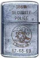 Zippo: (Back) SGT. M Hecker, 366th Security Police, Đông Hà, 1967-68-69