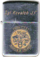 Zippo: (Front) SGT KOVATCH J.F. (John), VIETNAM , 620th TCS, Mountain of Vigilance, 1966 to Nov 1967