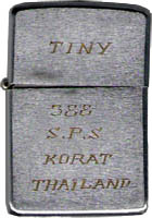 Zippo: (Front) TINY, 388th SPS, Korat, Thailand, Worthen, David R. (Trashcan), Biên Hòa AB, 3rd SPS; Korat RTAFB, 388th SPS, 1969-1970; 1972-1973