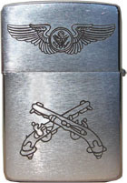 Zippo: (Front) USAF Military Wings, and Crossed Pistols.Johnston, Dennis H., Tuy Hoa, 31st SPS, 1966-1967.