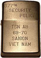 Zippo: (Front) 377th Security Police, TSN AB, 69-70, SAIGON, Colombo Russ, Tan Son Nhut AB, 377th SPS, 1969-1970