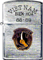 Zippo: (Front) submitted by, Robert Lodge, VIETNAM, BINH HOA, GARRY OWEN, 1968-1969