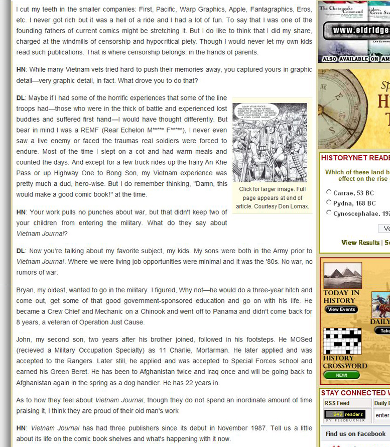 HistoryNet.com is featuring an interview with Don Lomax Vietnam Graphic Comic Novel