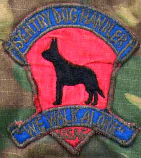 56th Security Police Squadron, K-9, NKP, RTAFB. Patch: Sentry Dog Handler, We Walk Alone, USAF.