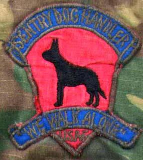 56th Security Police Squadron, K-9, NKP, RTAFB. Patch: Sentry Dog Handler, We Walk Alone, USAF.