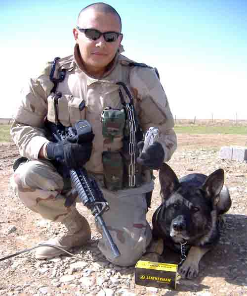 1. Sgt Pablo Martinez and Argo show off Leatherman Surge.