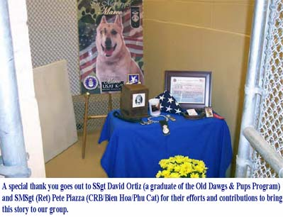 Memorial Table for K-9 MWD Marco.