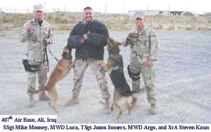Ali Air Base - 407th ESFS, MWD war dogs K-9, SSgt Mike Mooney, MWD Luca, TSgt Jason Somers, MWD Argo, and SrA Steven Kaun.