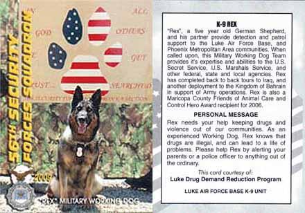 USAF 56th SFS, K-9 Rex, Military Working Dog. 2009.